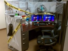Office:Things To Consider When Adding Halloween Decorations For Office Stylish Halloween Office Design Schemes With Wooden Office Deak And Laminated Wooden Floor Also Comfy Black Office Chair Plus White Spider Webs