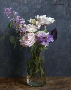 Paintings I Love, Beautiful Paintings, Floral Paintings, Oil Painting Flowers, Abstract Flowers, Flower Vases, Flower Art, Michael Klein, Still Life Oil Painting