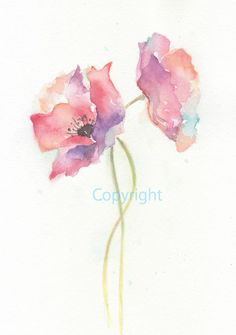 Fine art watercolor painting flower art POPPY by ChiFungW on Etsy, $16.00