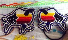 SOLD!! ✅  #beadsoverdiamonds #nativebling #nativemade #ariwitebeadwork Native American Beadwork, Native American Jewelry, Beading Patterns Free, Free Pattern, Beaded Earrings Native, Animal Design, Bead Art, Beaded Embroidery, Nativity