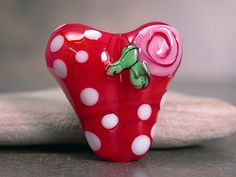 Lampwork Glass Heart Focal Bead Red with by DivineSparkDesigns