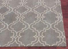 Moroccan Scroll Tile Gray Handmade Persian Style Woolen Area Rug