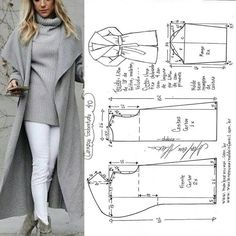 Cape Coat: Build Patterns for Sewing Dress Making Patterns, Coat Patterns, Clothing Patterns, Sewing Patterns, Skirt Patterns, Blouse Patterns, Fashion Sewing, Diy Fashion, Iranian Women Fashion