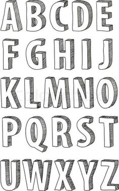 Fonts Alphabet Discover 30 Bullet Journal Font Ideas you must see! Looking for a way to spice up your Bullet Journal? Learn everything about bullet journal fonts and how to improve your hand writing. Hand Lettering Alphabet, Doodle Lettering, Creative Lettering, Block Lettering, Doodle Alphabet, 3d Typography, Handwriting Fonts Alphabet, Doodle Fonts, Bullet Journal Fonts Hand Lettering