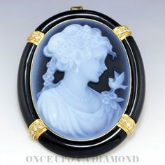 Vintage Hardstone Carved Black Onyx Cameo with Diamonds in 18kt Yellow Gold