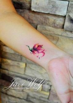 Beautiful Flower Watercolor Tattoo on Forearm for Girls by jaime