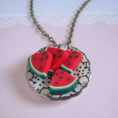 watermelon necklace This looks like something my daughter would make very cute
