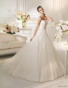 white one bridal 2013 nimbo strapless a line wedding dress lace bodice
