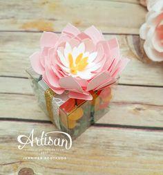 Peony Flower gift box using Stampin' Up! Succulent Framelit dies. - Jennifer Sootkoos