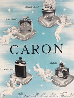 Vintage 1950 CARON  French Perfume Advertisement Cherubs Angels Print Ad