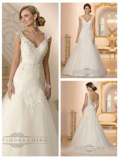 This beaded Lace and Tulle modified A-Line wedding gown features Diamante embellishments on the fitted bodice and cap sleeves. The detachable 1.5
