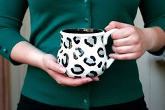 Snow Leopard Mug - White, Gray and Black - Large Potter's Mug Coffee Or Tea Spring Gift - Hand Painted - Made To Order