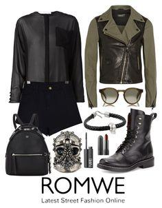 """ROMWE!"" by zoe-keredy ❤ liked on Polyvore featuring Mackage, ISABEL BENENATO, rag & bone, Illesteva, Fendi, Alexander McQueen and NARS Cosmetics"