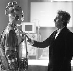 Bill as a Cyberman and the Doctor. Doctor Who, 12th Doctor, Twelfth Doctor, Geronimo, Peter Davison, Broadchurch, Sci Fi Series, Peter Capaldi, Torchwood