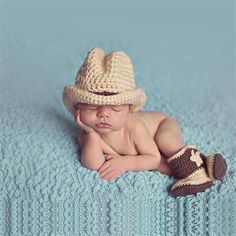 Newborn Handmade Knitted Cow Boy Costume 0-3 month