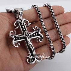 Gothic Jesus Cross Men's Chain Silver 316 L Stainless Steel Pendant Necklace