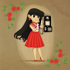 Retro Sailor Mars Art Print