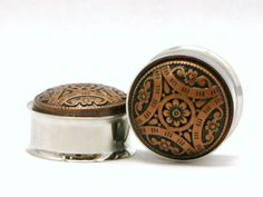 Bronz Flower Tribal Style Plugs 3/4 7/8 19mm 22mm by arksendeavors