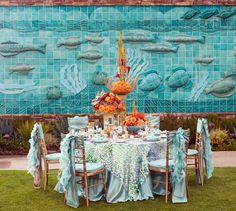 Studio EMP, Flower Fusion, blue and orange reception tablescape, ocean theme, opulent