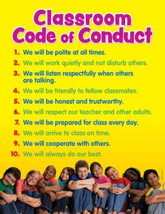 Middleschool science themed classroom ideas | Classroom+Code+of+Conduct+Chart