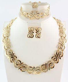 משלוח חינם סטי תכשיטי זהב חתונה מצופה זהב סטי תכשיטי שרשרת עגיל טבעת סטי סטי תכשיטי חרוזים אפריקאים