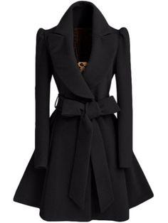 Black Shawl Collar Frock Coat With Belt. -SheIn