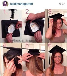 How to put your graduation cap on without ruining your hair. Fold back front and attach to hair with bobby pins