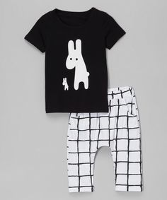 Look at this Leighton Alexander Black & White Bunny Tee & Pants - Infant, Toddler & Kids on #zulily today!