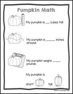 Last Bits of October Pumpkin Measurement Activity FREE Kindergarten Science, Preschool Math, Math Classroom, Math Activities, Classroom Ideas, Primary Science, Montessori Classroom, Physical Science, Math Measurement