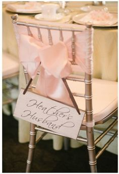 Wedding Chair Banners & Markers #weddingchairbanners #weddingchairmarkers #weddingreceptiondecorations