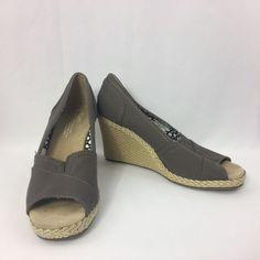 Toms Wedge Heel Peep Toe Espadrilles Women's 8 UK 6 Canvas Gray #Toms #PlatformsWedges #Casual