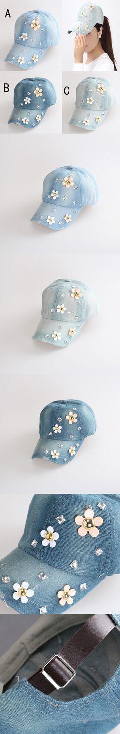c1dd0ff6368 2014 newest Korean Retail Diamond Point FLOWER denim caps women baseball cap  LADY Hat rhinestone print  8.56