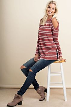 Rust Striped Cold Shoulder Top