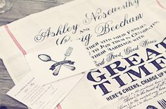 Ummm how about sending out your wedding invitations as silk-screened tea towels?  OMG!