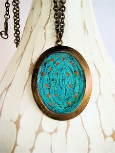 Hand Painted Undersea Pendant Abstract Blue Green by CatchingWaves