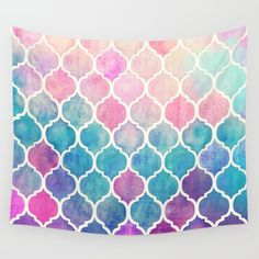 Rainbow Pastel Watercolor Moroccan Pattern Wall Hanging Tapestry by Micklyn - Small: x Pattern Wall, Quatrefoil Pattern, Wall Patterns, Bohemian Tapestry, Mandala Tapestry, Hippie Tapestries, Boho, Iphone 7, Coque Iphone