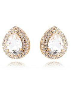brinco gotinha folheado a ouro com zirconias cristais semijoias online