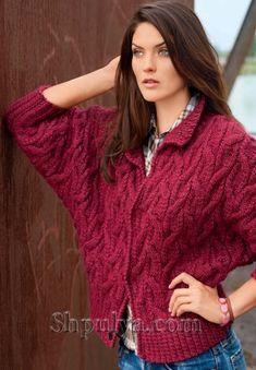 Knitting Designs, Knitting Patterns Free, Knit Patterns, Knitting Projects, Red Cardigan, Sweater Jacket, Knit Fashion, Crochet Clothes, Knitwear
