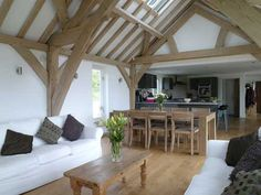 nice example of open plan living/dining/kitchen Open Plan Kitchen Living Room, Barn Kitchen, Open Plan Living, Barn House Conversion, Barn Conversion Interiors, Timber Frame Homes, Metal Homes, Oak Framed Buildings, Converted Barn