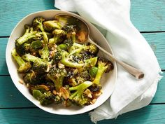 Parmesan-Roasted Broccoli - omitted zest, basil, and pine nuts, used 6 cloves garlic and 4 TB olive oil