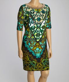 Sandra Darren Olive & Black Embellished Arabesque Shift Dress - Plus by Sandra Darren #zulily #zulilyfinds
