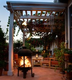 Chiminea fireplace on patio
