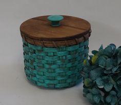 Toilet Paper Basket-Basket with a Lid-Painted Basket-Storage Basket-Canister Basket-Primitive Style
