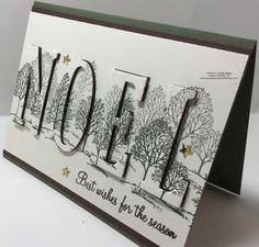 "Lovely As A Tree Is Eclipsed! - Stamping Creations With Marilyn - - When I started seeing the ""Eclipse Technique"", I knew that one of my first samples would be making sure that Lovely As A Tree Is Eclipsed. Christmas Cards 2018, Homemade Christmas Cards, Handmade Christmas, Homemade Cards, Holiday Cards, Christmas Vacation, Xmas Cards Handmade, Embossed Christmas Cards, Cricut Christmas Cards"