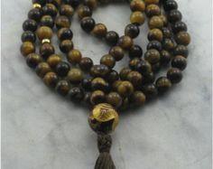 Rose Mala Necklace Rose Quartz Mala Beads and by SaltSpringMalas