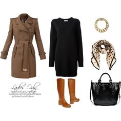 A fashion look from October 2013 featuring long-sleeve sweater dresses, trench coats and tan boots. Browse and shop related looks. Office Chic, Office Ladies, Shoe Bag, Lady, Polyvore, Stuff To Buy, Shopping, Collection, Design