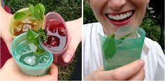 Squishable cups made from edible Jell-O. They're made from agar agar, which can be thrown into the grass when finished as a nurturing agent for plantlife. Your next backyard BBQ just got way easier to clean up after.
