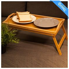 Hankey FT01 Bamboo Breakfast Table Laptop Desk Bed Serving Tray w' Handles Foldable Legs