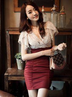 Elegant Korean V Neck Lace Ruffled Short Sleeve  Dress