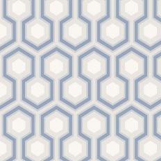 Papier peint - Cole and Son - Hicks Hexagon - Blue Grey & White